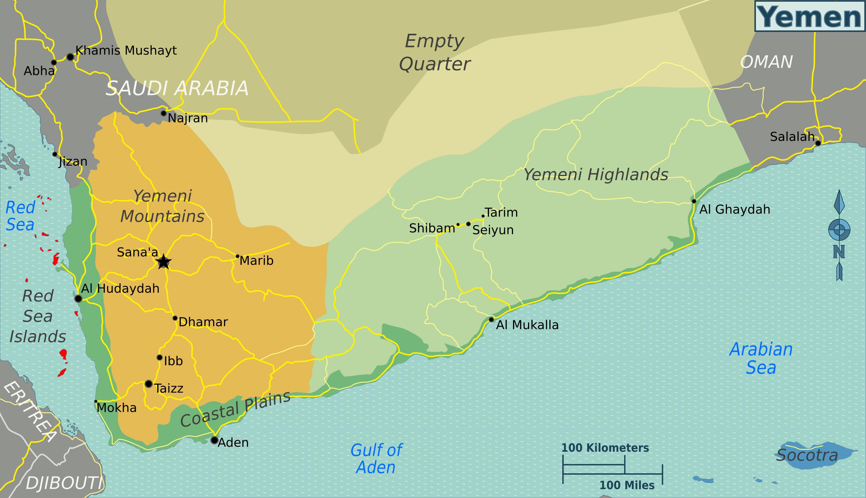 large regions map of yemen