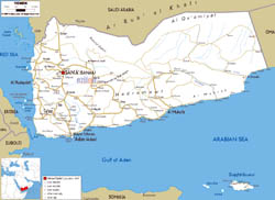 Large road map of Yemen with all cities and airports.