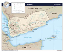 Large scale physiography map of Yemen - 2012.