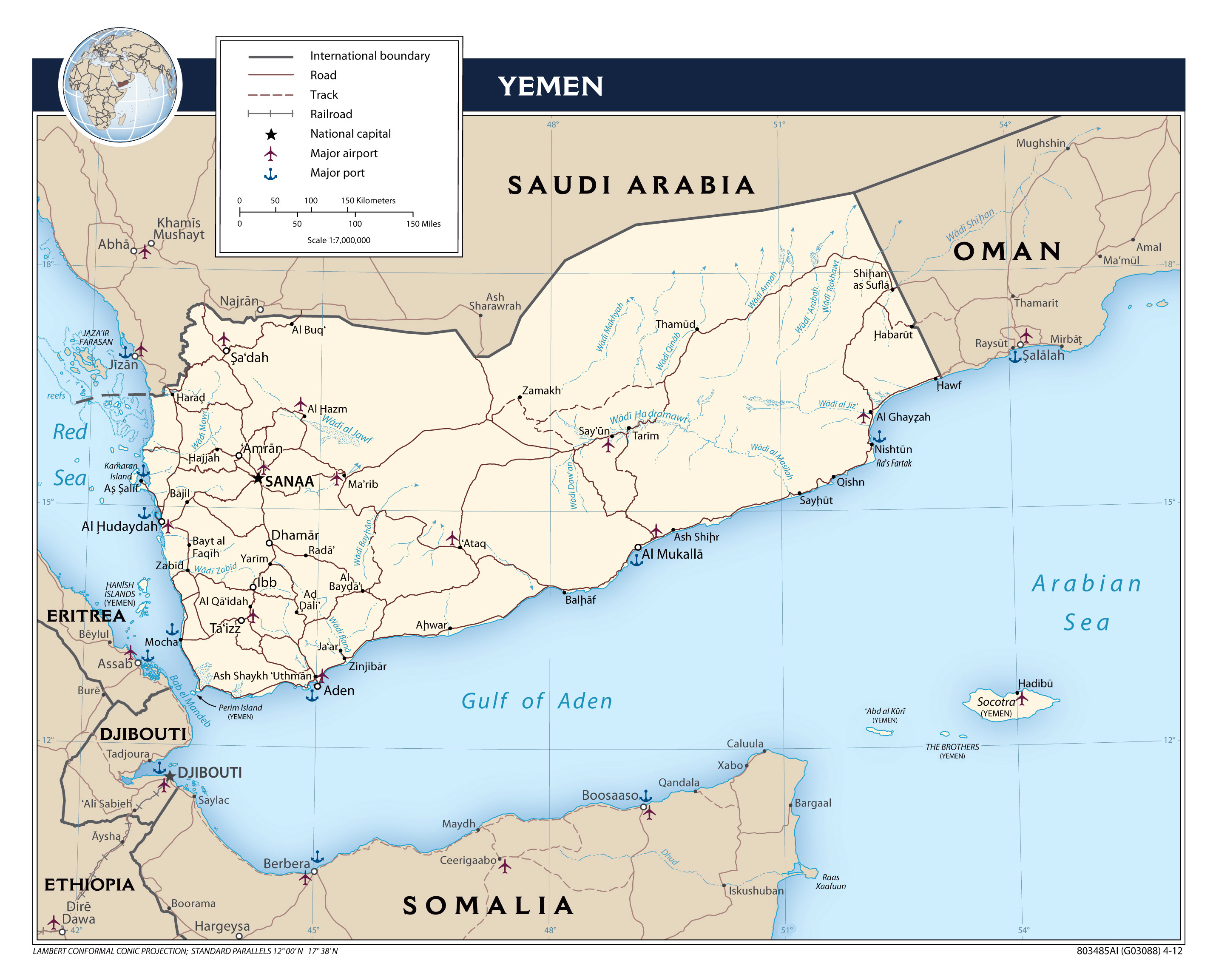 large scale political map of yemen with roads major cities and airports 2012