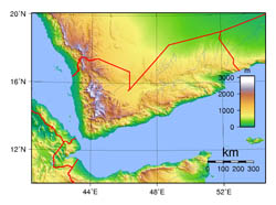 Large topographical map of Yemen.