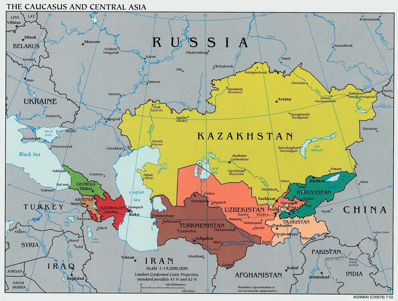 Maps of asia and asia countries political maps administrative and political map of the caucasus and central asia 2003 gumiabroncs Image collections