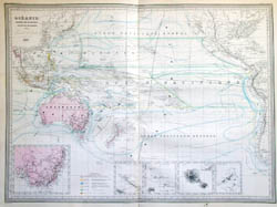 Detailed old map of Australia and Oceania - 1863.