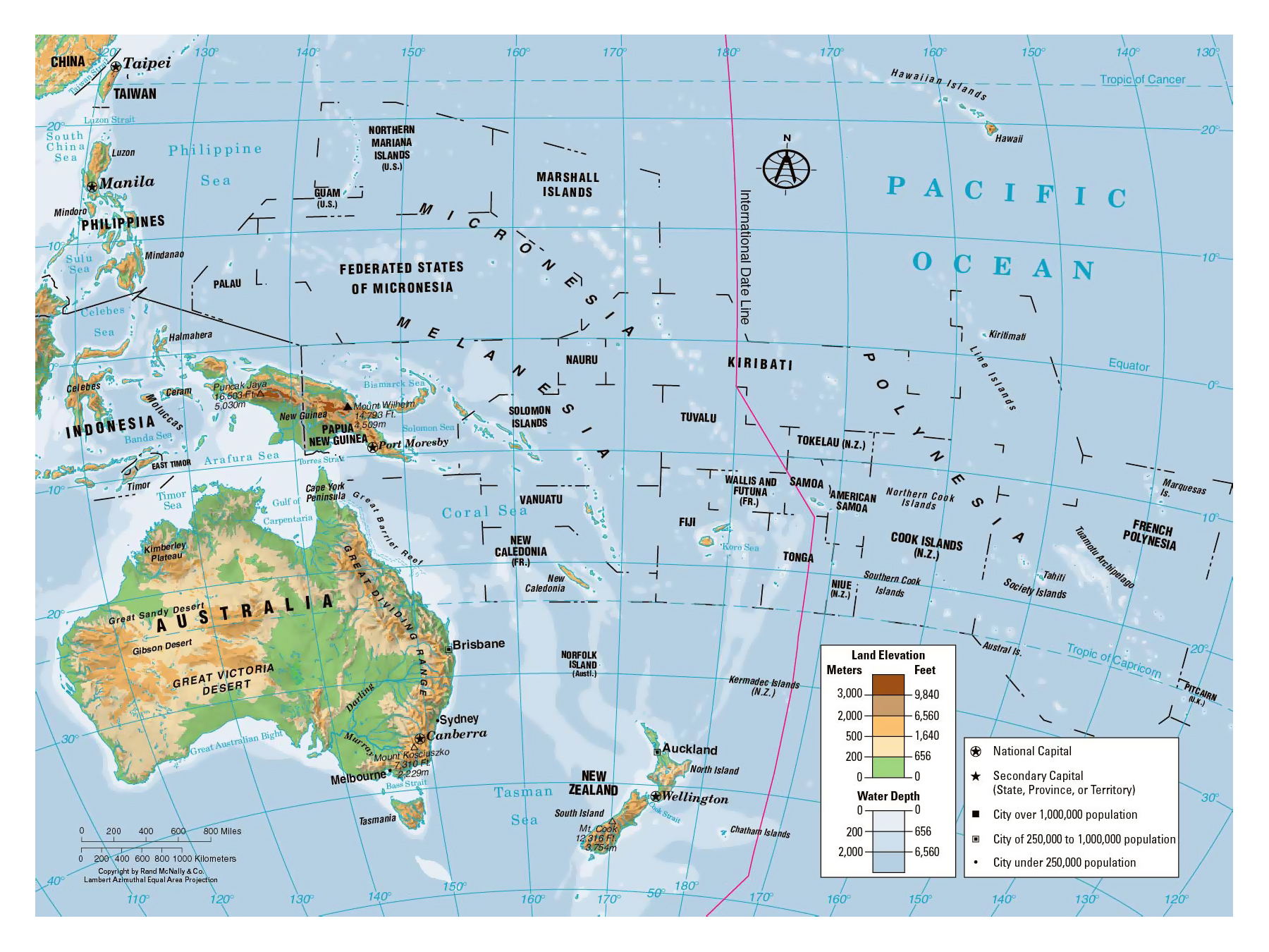 detailed physical map of oceania