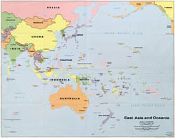 Detailed political map of East Asia and Oceania.