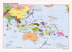 Large detailed political map of East Asia and Oceania with major cities and capitals - 1992.