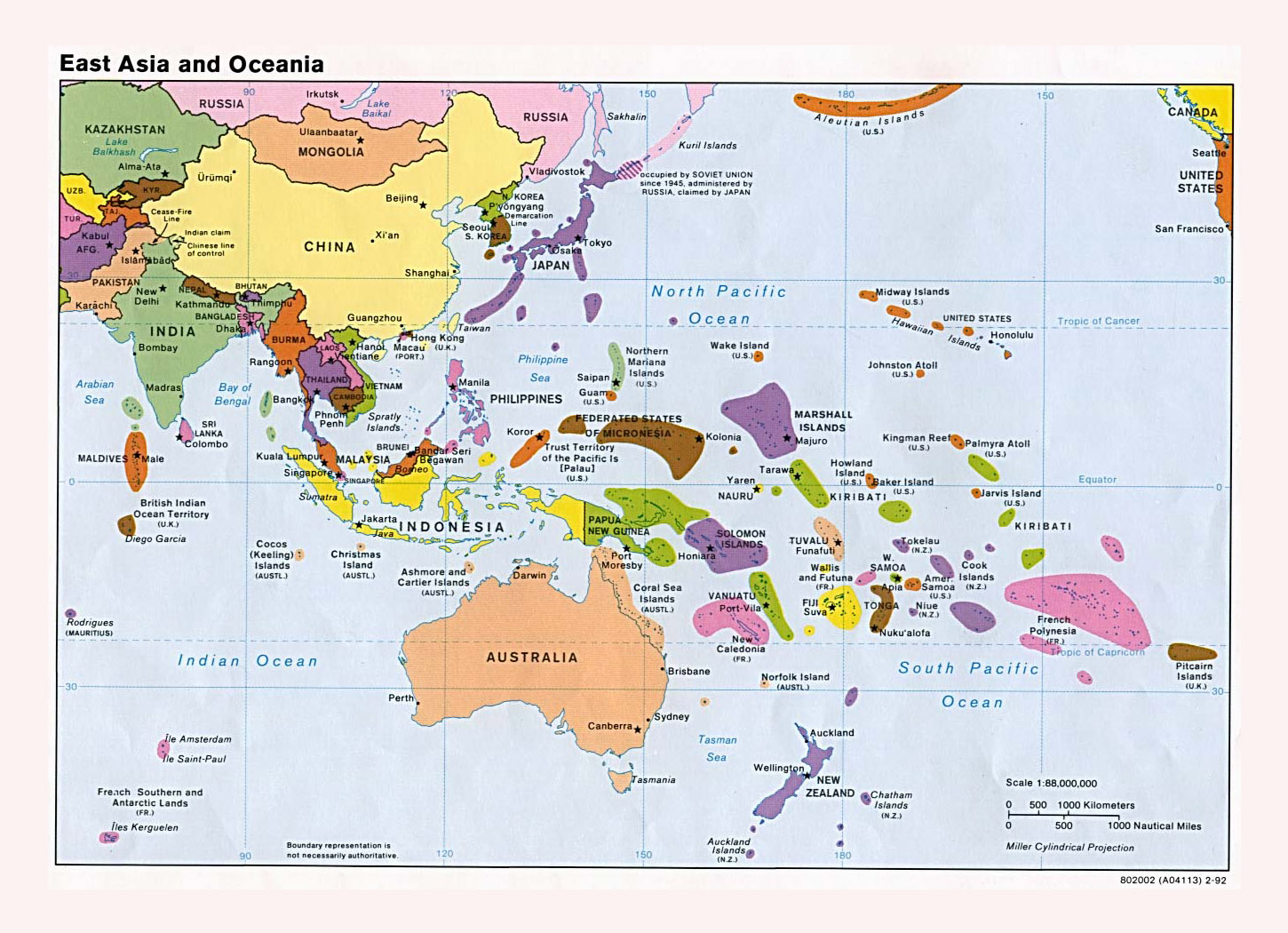 Maps Of Australia And Oceania And Oceanian Countries Political - Map of usa with states and capitals and major cities