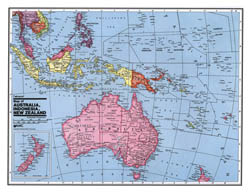 Large detailed political map of Australia and Oceania.