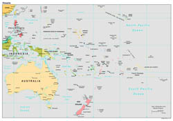 Large detailed political map of Australia and Oceania with capitals and major cities - 1997.