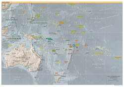 Large detailed political map of Australia and Oceania with relief - 2000.