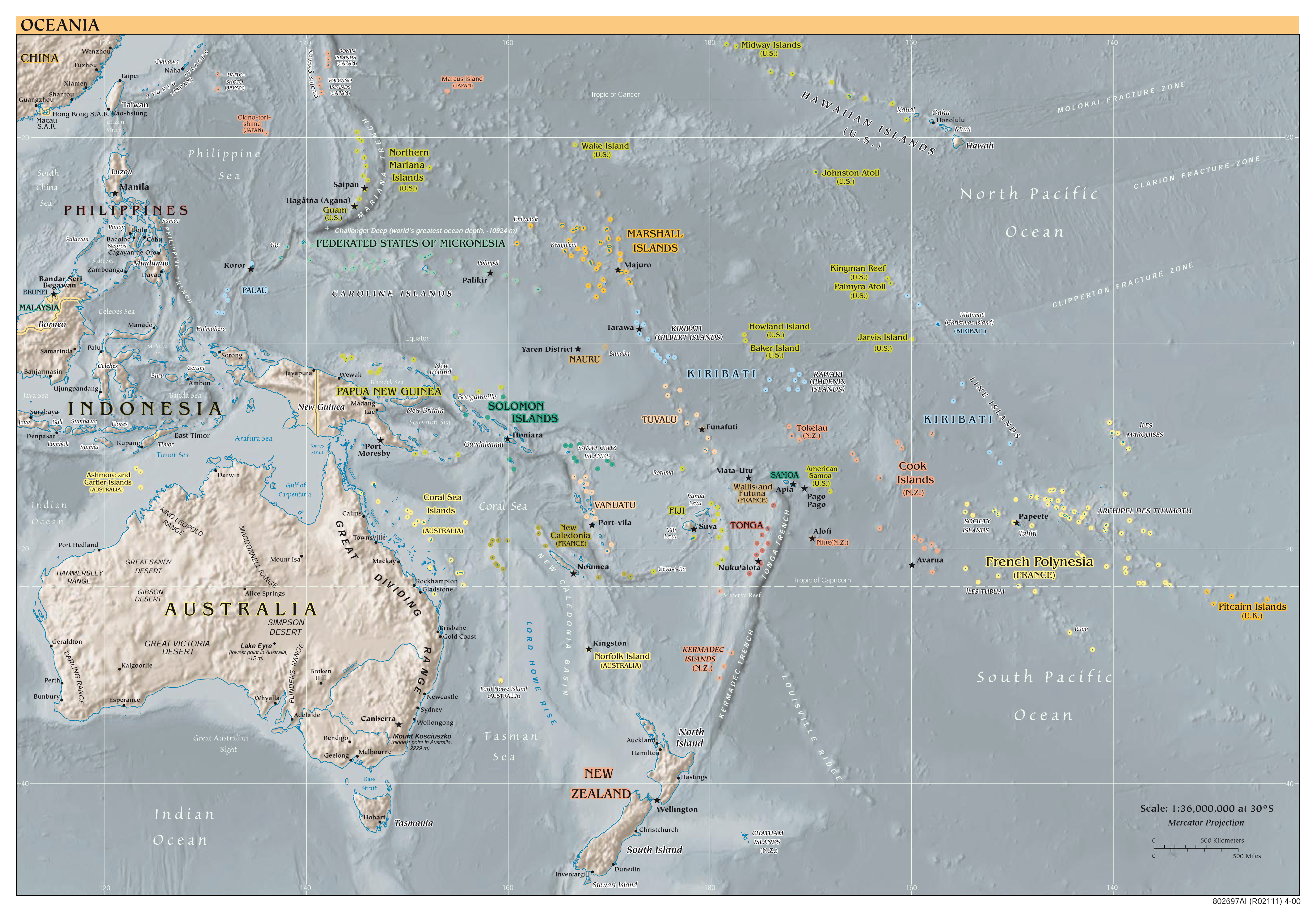 Maps Of Australia And Oceania And Oceanian Countries Political - Us political map 2000