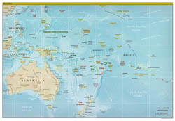 Large detailed political map of Australia and Oceania with relief - 2009.