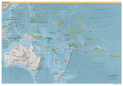Large detailed political map of Australia and Oceania with relief and capitals - 2007.