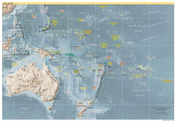 Large detailed political map of Australia and Oceania with relief, capitals and major cities - 1999.