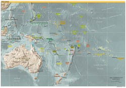 Large detailed political map of Australia and Oceania with relief, capitals and major cities - 2001.