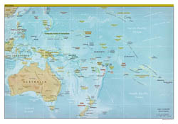 Large detailed political map of Australia and Oceania with relief, capitals and major cities - 2012.