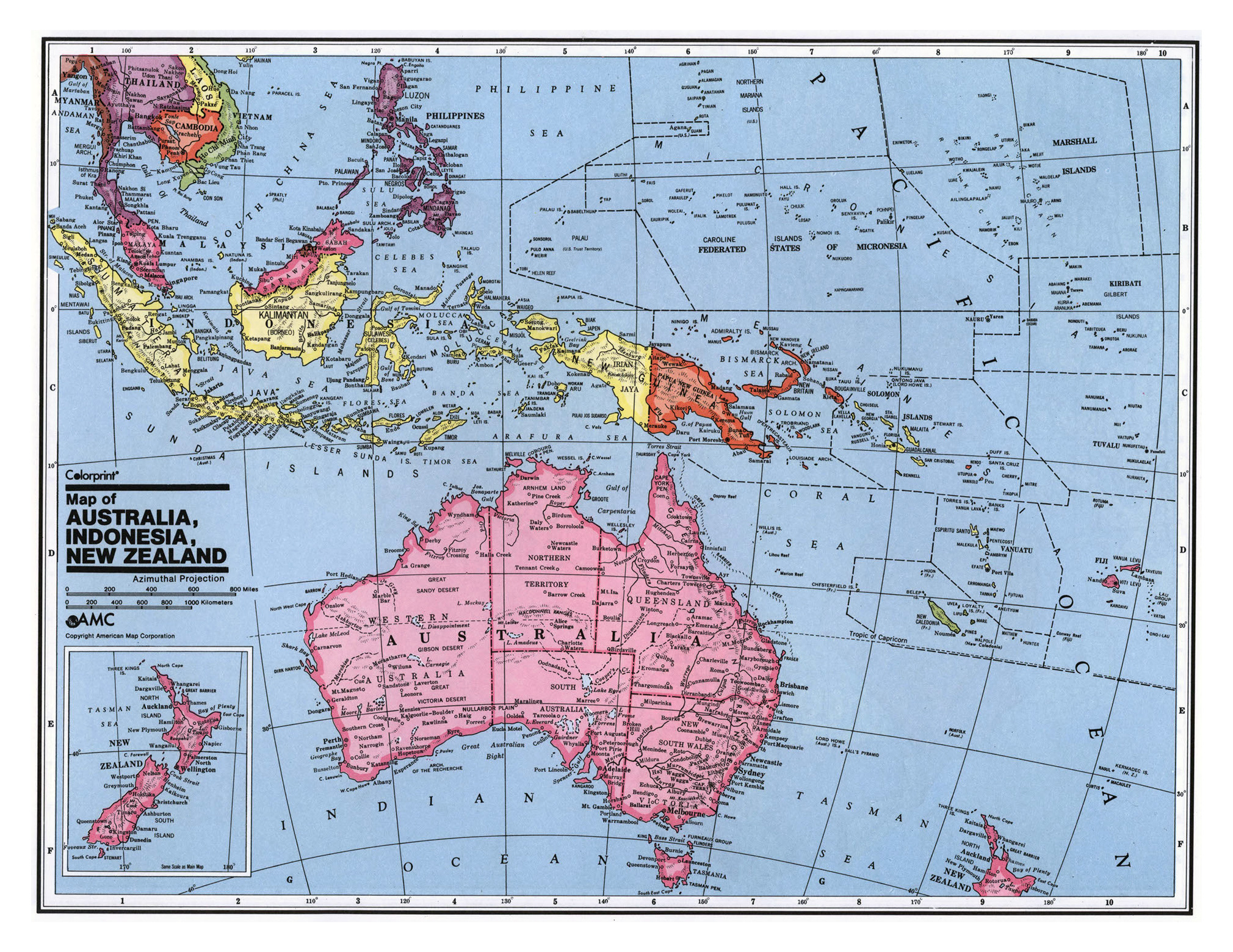 Maps of Australia and Oceania and Oceanian countries | Political ...