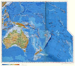 Large physical map of Australia and Oceania in russian.