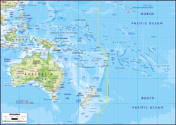 Large physical map of Australia and Oceania with major roads and major cities.