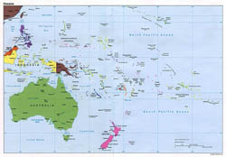 Large political map of Australia and Oceania - 1995.
