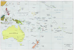 Large political map of Australia and Oceania - 2001.