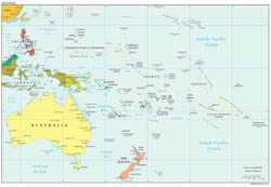 Large political map of Australia and Oceania with capitals - 2012.