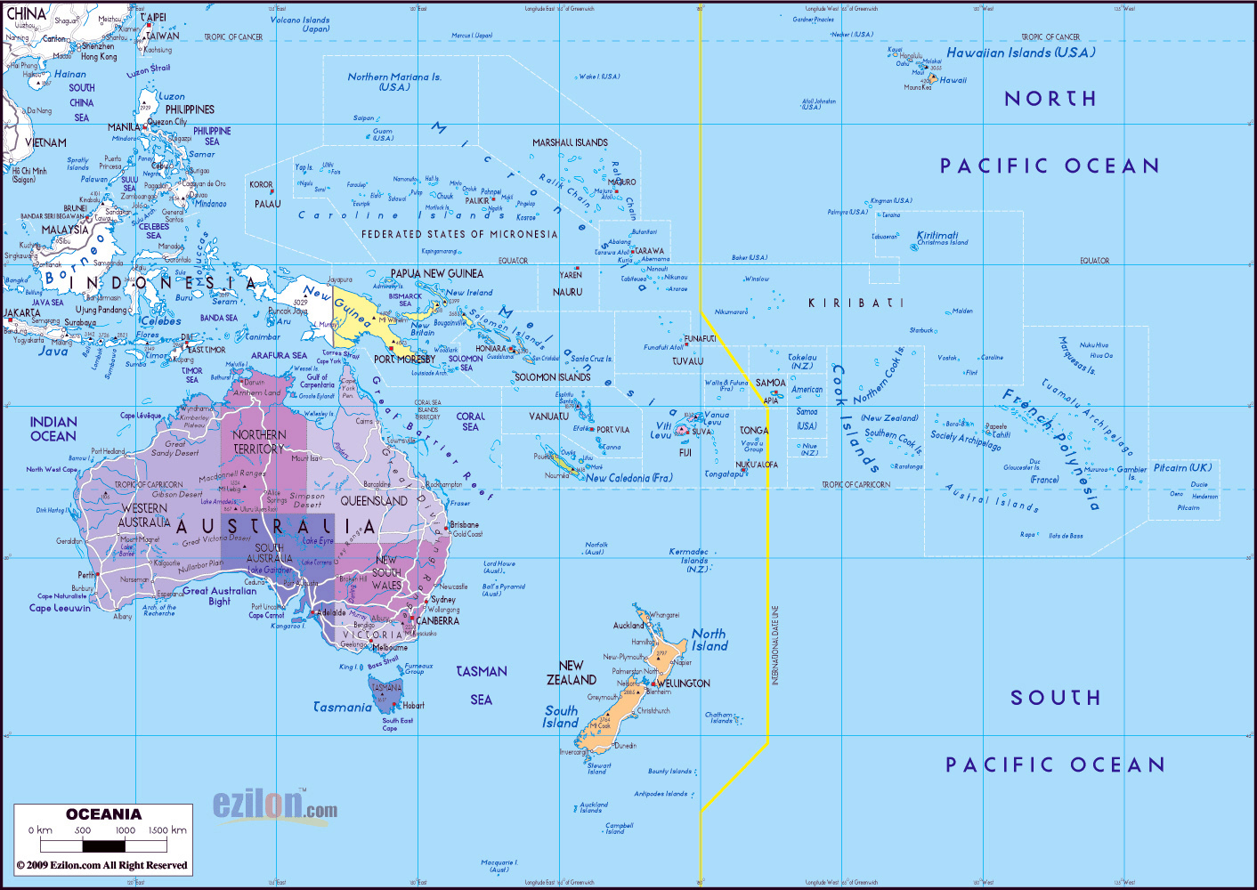 Maps of Australia and Oceania and Oceanian countries – Map of Major Cities in Australia
