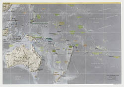 Large political map of Australia and Oceania with relief, major cities and capitals - 2001.