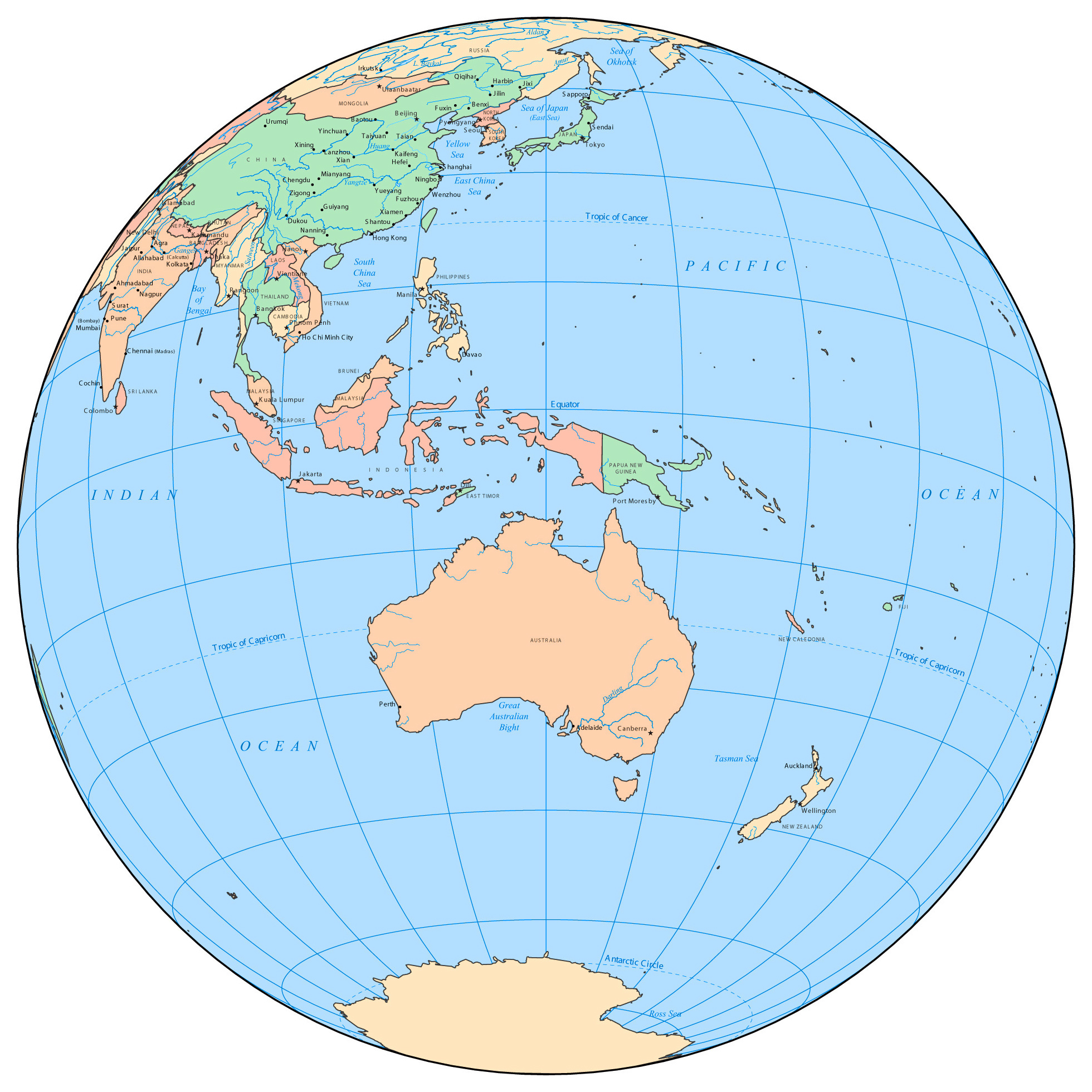 australia on a map of the world australia location on world map