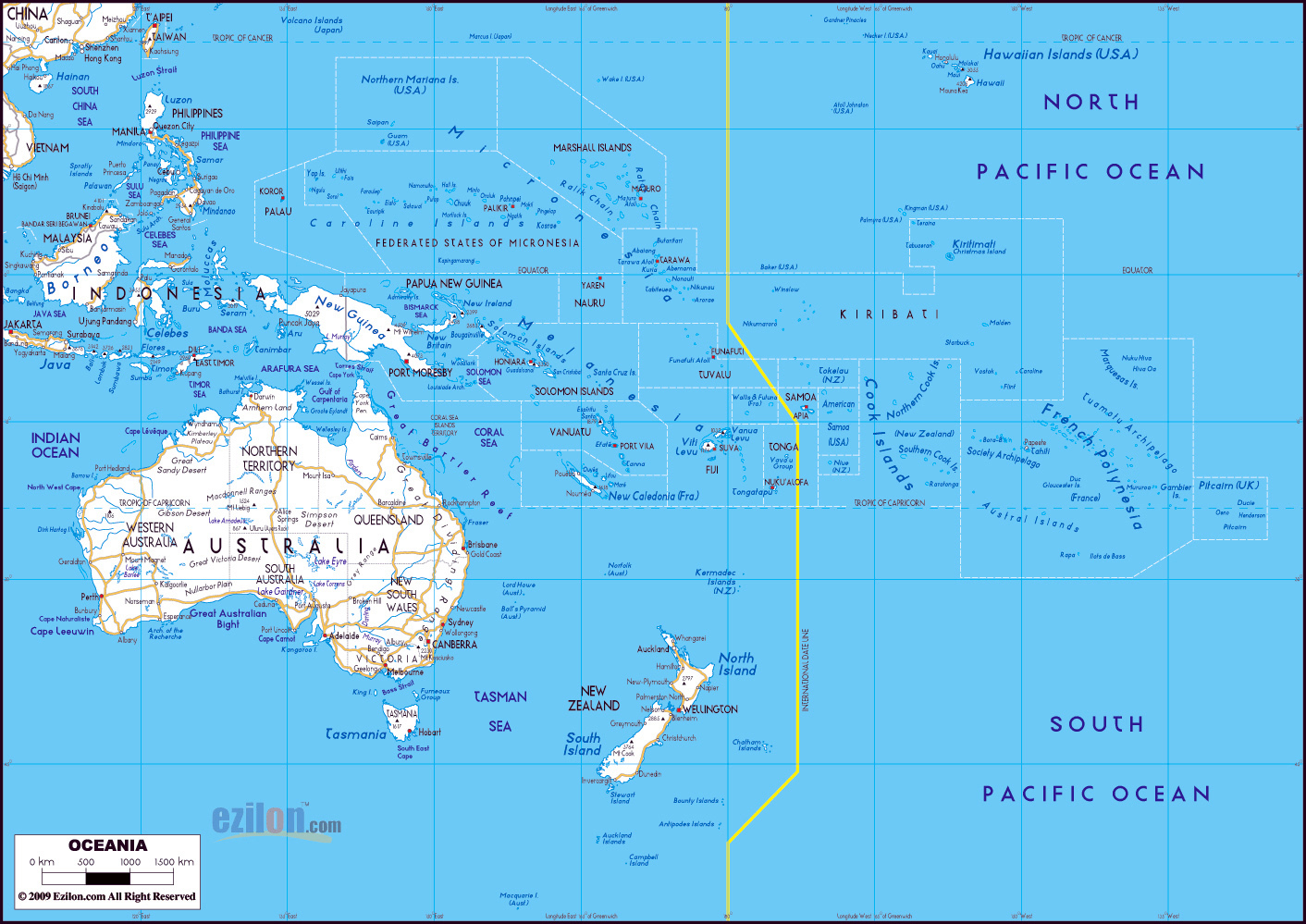 Australia Map With Cities.Maps Of Australia And Oceania And Oceanian Countries Political
