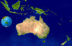 Large satellite map of Australia and Oceania.