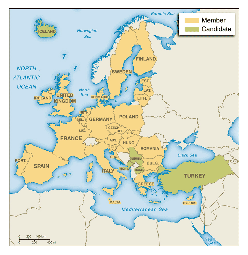 Maps of Europe and European countries Political maps