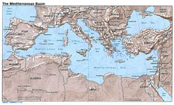 Detailed map of the Mediterranean Basin with relief - 1982.