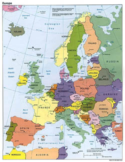 Detailed political map of Europe - 1993.