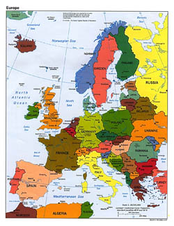 Detailed political map of Europe with capitals and major cities - 1997.