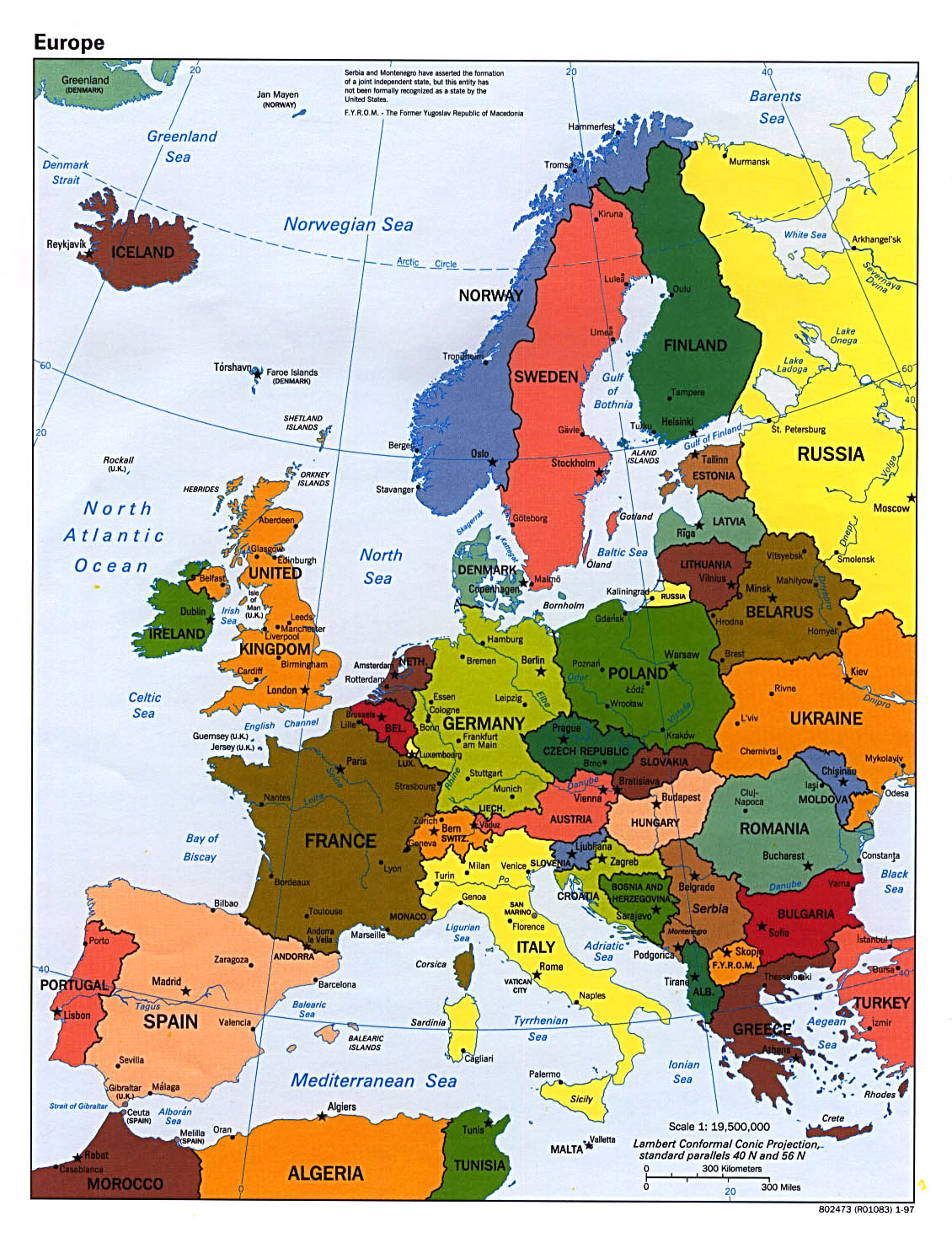 detailed political map of europe with capitals and major cities 1997