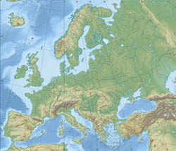 Detailed relief map of Europe.