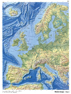 Detailed relief map of Western Europe.