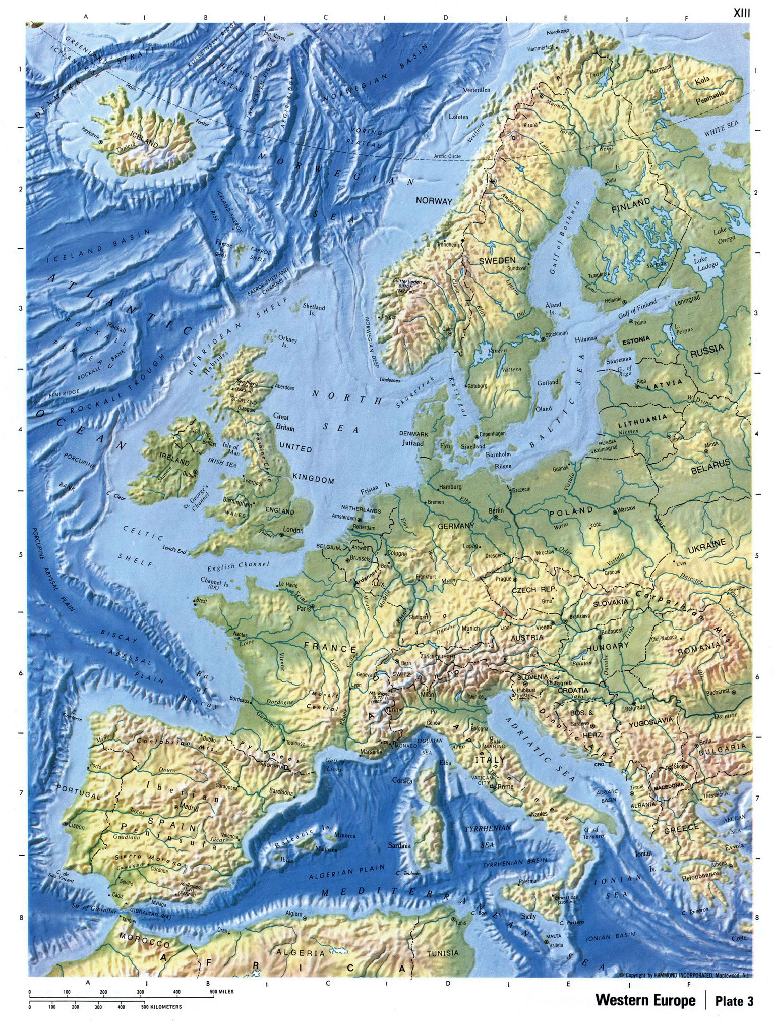 detailed relief map of western europe