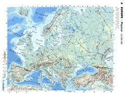 Large detailed physical map of Europe.