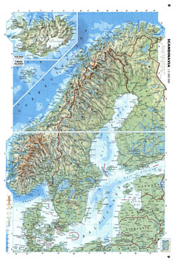 Large detailed physical map of Scandinavia.