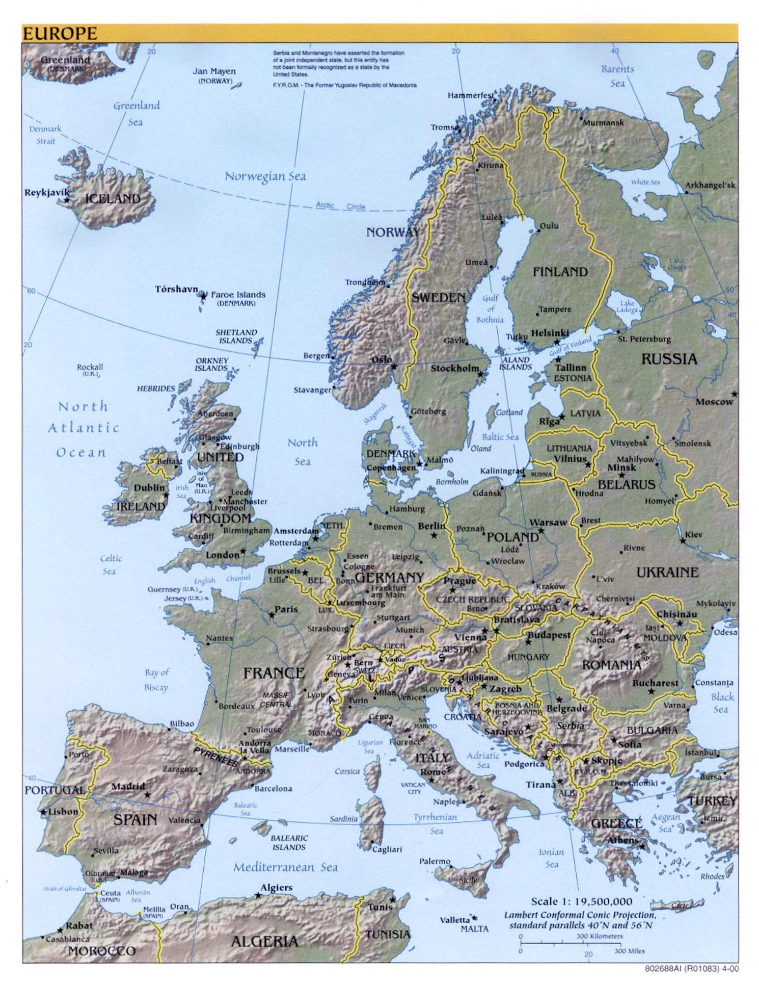 Map Of Europe And Major Cities.Maps Of Europe And European Countries Political Maps