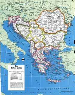 Large detailed political map of the Balkan States.