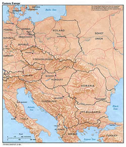 Large political map of Eastern Europe with relief, capitals and major cities - 1984.