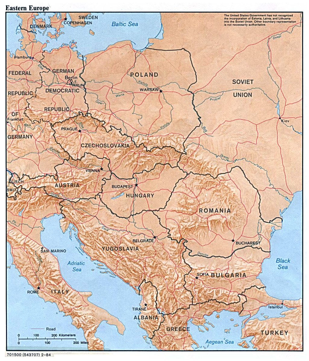 large political map of eastern europe with relief capitals and major cities 1984