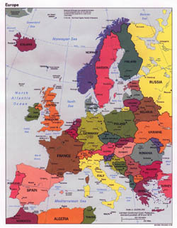 Large political map of Europe with major cities - 1998.