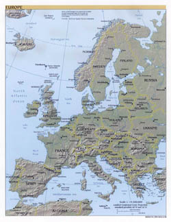 Large political map of Europe with relief - 1999.