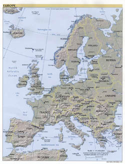 Large political map of Europe with relief, major cities and capitals - 2001.