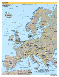 Large political map of Europe with relif, major cities and capitals - 2004.