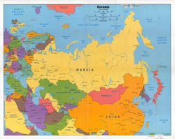 Large scale political map of Eurasia - 2006.
